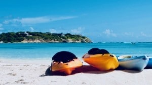 Kayaks on a beach
