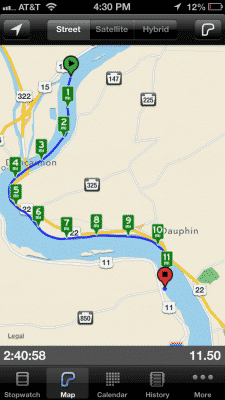 day one miles on the Susquehanna river